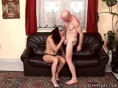 Lusty granny getting fucked hard on the couch