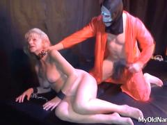 Submissive granny whipped and used