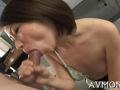 Asian tart with little boobs shows a MILF can still suck