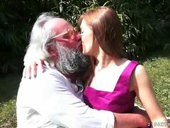 Bearded old fatso fucks a hot teen babe