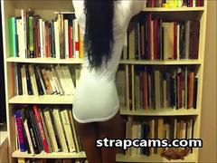 Ebony Teen In Library Stripping