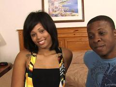Amateur ebony couple having sex on camera