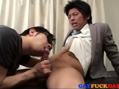 placing his gay lips and blowing on the cock