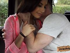 Cute teen babe Zaya Cassidy gets her pussy fucked in the car