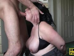 Mature sub plumper roughly fucked doggystyle