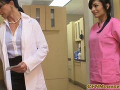 Femdom nurses cockriding in cfnm threesome