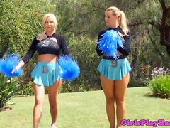 Cheerleading lesbian facesitting on lover