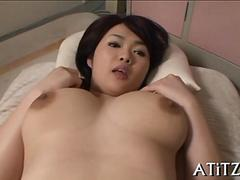 Big boobs Japanese slut gets her petite body rocked with dick