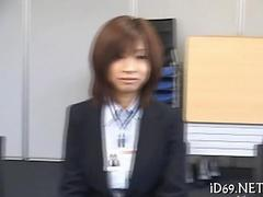 Japanese office ladies strip during an interview  and tease