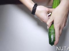 stuffing her wet pussy with a nasty ass cucumber