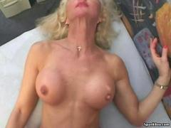Busty mature rides cock