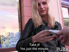 Blonde rocker chick in leather jacket paid for pussy fucking