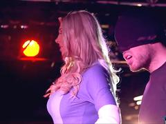 Huge boobs blonde super hero chick fucks a hot guy