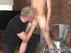 Skinny guy gets cock rubbed and ass spanked by old guy