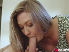 Step bro feeds Addison Lee his big cock to swallow