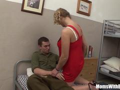Young Soldier Rewarded With A Mature Blonde Whore