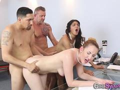 Classy office ladies fucked by their mature bosses in foursome