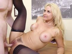 Busty Blond Boss Sarah Vandella Seduces Young Employee