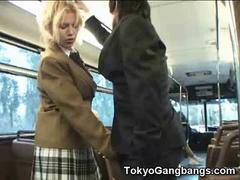 Flexible Coed Plays with Stranger in a Bus!