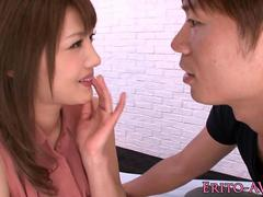 Hairy Japanese model nailed in bedroom