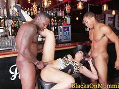 Glam milf spitroasted by big black cocks