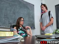 Brunette teacher Kendra Lust teaching Lucas a lesson