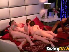 Freshly married couples fuck in their first swinger foursome
