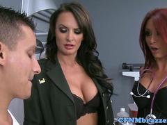 CFNM military babe cockriding in trio