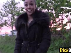 Sexy Ebony hooker with big tits got fucked on the hood of the car