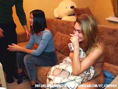 College girl at a party with a remote controlled vibrator