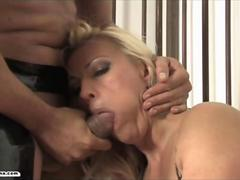 Horny blonde sex slave Leggy Lana gags on big cock and is fucked rough and hard from behind