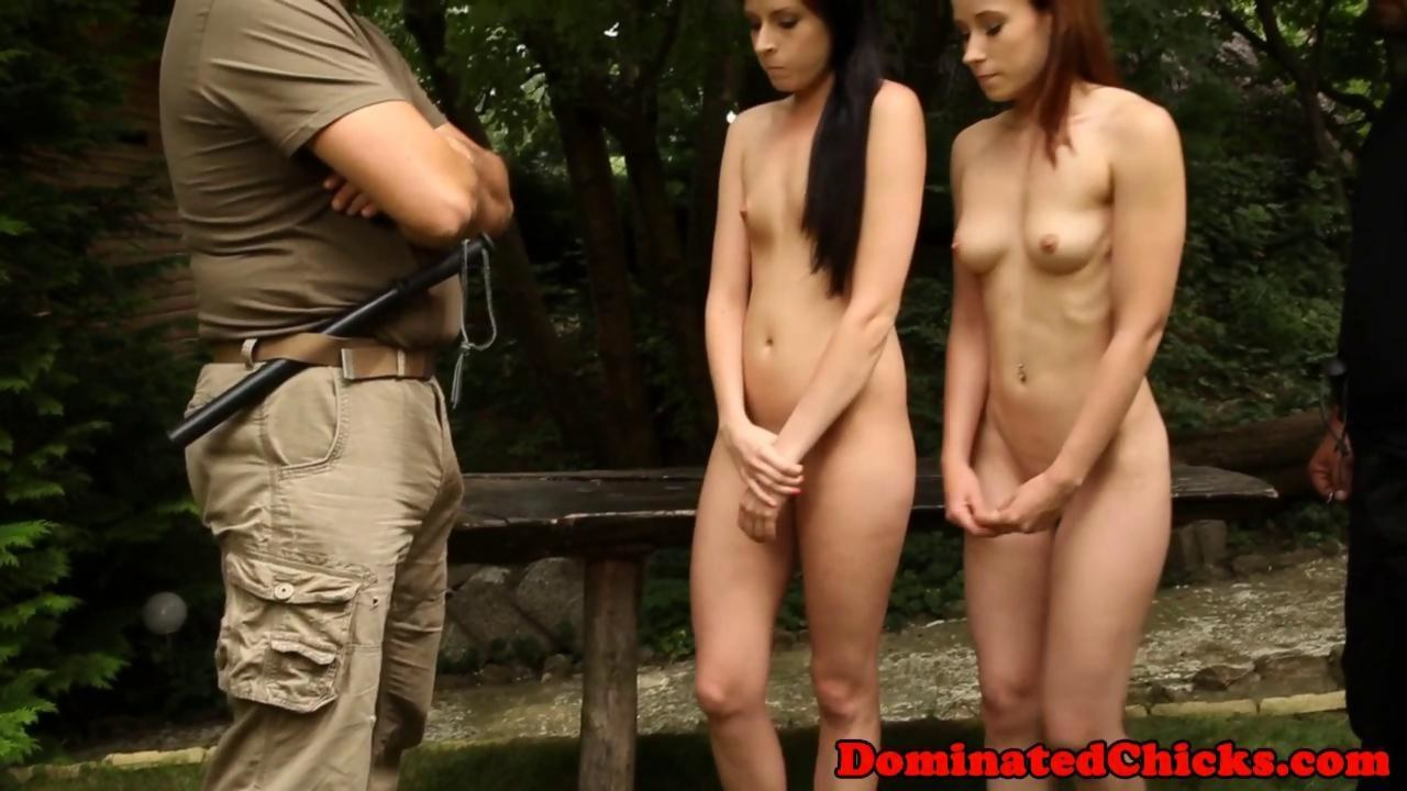 Restrained slaves dominated in a foursome