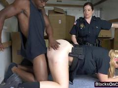 Dirty MILF cops arrested a black guy and forced him on a hardcore sex