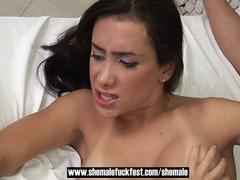 Curious couple invites a sexy shemale to join them - Shemale Fuck Fest