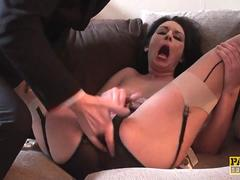 Submisive squirter choked and pussy fingered