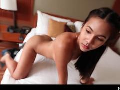 Beautiful ladyboy loving cock with her lips