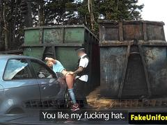Real english broad bent over car and fucked