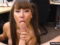 Chinese babe Tiffany Rain  gets fucked in the pawnshop