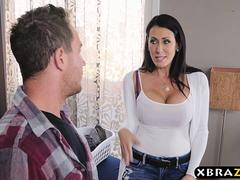 Stepmom with big tits fucks stepson while dad is downstairs