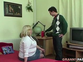 chubby granny loves hot dog with young cock