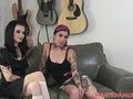 Petite goth beauties get interviewed