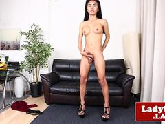 Gorgeous ladyboy solo pulling her hard cock