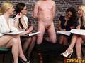 European femdom babes are learning and inspecting things about male pecker on a stud slave