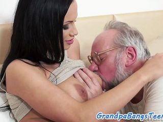 busty brunette is keen to take that enormous old cock and put it in between her legs