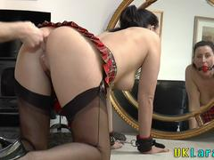 This kinki mature slut in schoolgirl outfit desires to taste that hulking cock with her juicy mouth and then spreads her legs for that fellow