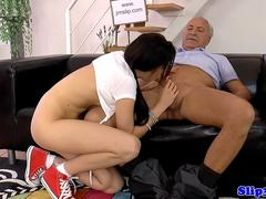 European amateur sucks while jerking oldman