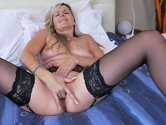 horny milf prefers teasing in front of webcam naked and starts playing with her favorite dildo