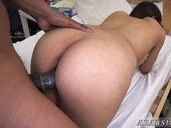 Arab goddess really knows how to swallow that stiff cock and get it between her sexy legs in different poses from this stud