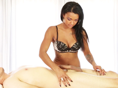 Black babe loves to milk the dudes penis up