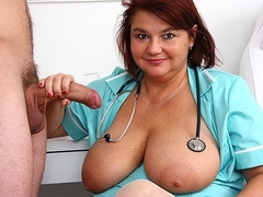 Big tits uniform mature Eva stroking big dick patient